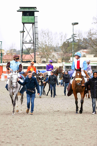 27.02.2016. Cagnes sur Mer, France. 3rd Race of the day Prix Jacques Bouchara.  Race winner 3 TARATCHI, ridden by A. HAMELIN