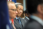 Singapore Defence Minister Dr Ng Eng Hen listens during a press conference with Australian Defence Minister Stephen Smith, Trade Minister Craig Emerson and Foreign Minister Bob Carr at Parliament House Canberra, Monday September 10th 2012. AFP PHOTO / Mark GRAHAM