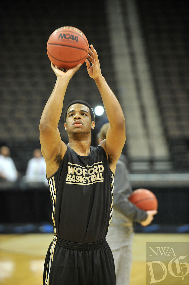NWA Democrat-Gazette/Michael Woods --03/15/2015--w@NWAMICHAELW... Wofford guard Spencer Collins shoots around during practice Wednesday evening at Jacksonville Veterans Memorial Arena in Jacksonville, Florida.