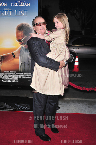 "Jack Nicholson & Taylor Ann Thompson at the Los Angeles premiere of their new movie ""The Bucket List"" at the Cinerama Dome, Hollywood..December 16, 2007  Los Angeles, CA.Picture: Paul Smith / Featureflash"