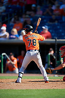 Baltimore Orioles center fielder Ryan McKenna (78) at bat during a Grapefruit League Spring Training game against the Philadelphia Phillies on February 28, 2019 at Spectrum Field in Clearwater, Florida.  Orioles tied the Phillies 5-5.  (Mike Janes/Four Seam Images)