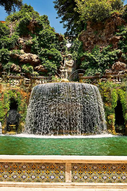 waterfall of The oval fountain, 1567, Villa d'Este, Tivoli, Italy - Unesco World Heritage Site.