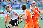 The Hague, Netherlands, June 06: Martin Haener #6 of Germany and Mink van der Weerden #30 of The Netherlands in action during the field hockey group match (Men - Group B) between Germany and The Netherlands on June 6, 2014 during the World Cup 2014 at Kyocera Stadium in The Hague, Netherlands. Final score 0-1 (0-1) (Photo by Dirk Markgraf / www.265-images.com) *** Local caption *** Martin Haener #6 of Germany, Seve van Ass #25 of The Netherlands, Mink van der Weerden #30 of The Netherlands, Billy Bakker #8 of The Netherlands