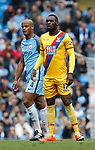 Vincent Kompany of Manchester City with Christian Benteke of Crystal Palace during the English Premier League match at the Etihad Stadium, Manchester. Picture date: May 6th 2017. Pic credit should read: Simon Bellis/Sportimage
