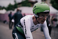 Ben King (USA/Dimension Data) after finishing<br /> <br /> stage 16: Trento &ndash; Rovereto iTT (34.2 km)<br /> 101th Giro d'Italia 2018
