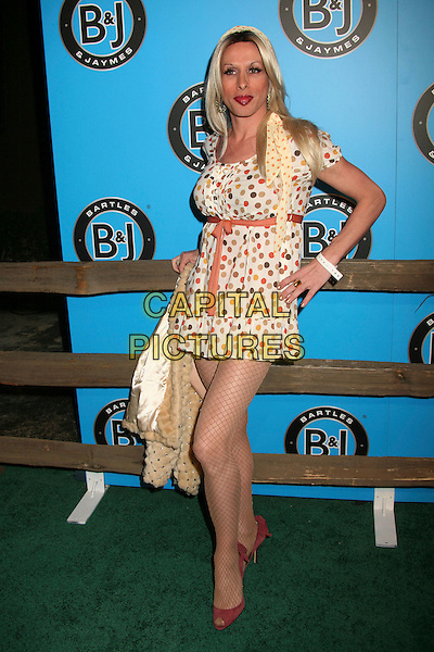 ALEXIS ARQUETTE .Bartles & Jaymes Poolside BBQ at the Roosevelt Hotel, Hollywood, California, USA..May 10th, 2007.full length cream white pink black brown beige polka dot dress ribbon belt hand on hip fishnet stockings .CAP/ADM/BP.©Byron Purvis/AdMedia/Capital Pictures