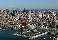 aerial view above midtown Manhattan Hudson River Park Trust Recreational Center Pier 40 New York city
