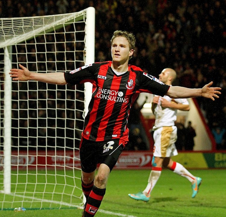 Bournemouth's Eunan O'Kane celebrates scoring his sides third goal...Football - npower Football League Division One - Bournemouth v Crawley Town - Goldsands Stadium - Bournemouth..