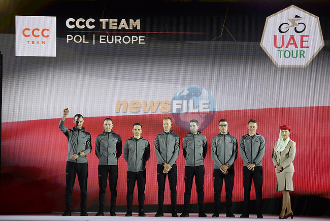 CCC Team on stage at the inaugural UAE Tour 2019 opening ceremony and team presentation held in the Louvre Abu Dhabi, United Arab Emirates. 23rd February 2019.<br /> Picture: LaPresse/Fabio Ferrari | Cyclefile<br /> <br /> <br /> All photos usage must carry mandatory copyright credit (© Cyclefile | LaPresse/Fabio Ferrari)