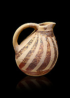 Minoan Kamares Ware ewer jug with  polychrome decorations, Phaistos Palace 1800-1600 BC; Heraklion Archaeological  Museum, black background.<br /> <br /> This style of pottery is named afetr Kamares cave where this style of pottery was first found