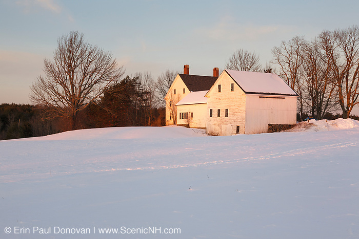 Wagon Hill Farm at sunset during the winter months. Located in Durham, New Hampshire USA which is part of scenic New England