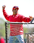 4 March 2010: Washington Nationals' third base coach Pat Listach tosses batting practice prior to the Nationals-Astros Grapefruit League Opening game at Osceola County Stadium in Kissimmee, Florida. The Astros defeated the Nationals split-squad 15-5 in Spring Training action. Mandatory Credit: Ed Wolfstein Photo