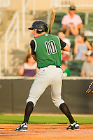 Brett Krill #10 of the Augusta GreenJackets at bat against the Kannapolis Intimidators at CMC-Northeast Stadium on May 3, 2012 in Kannapolis, North Carolina.  The Intimidators defeated the GreenJackets 11-1.  (Brian Westerholt/Four Seam Images)