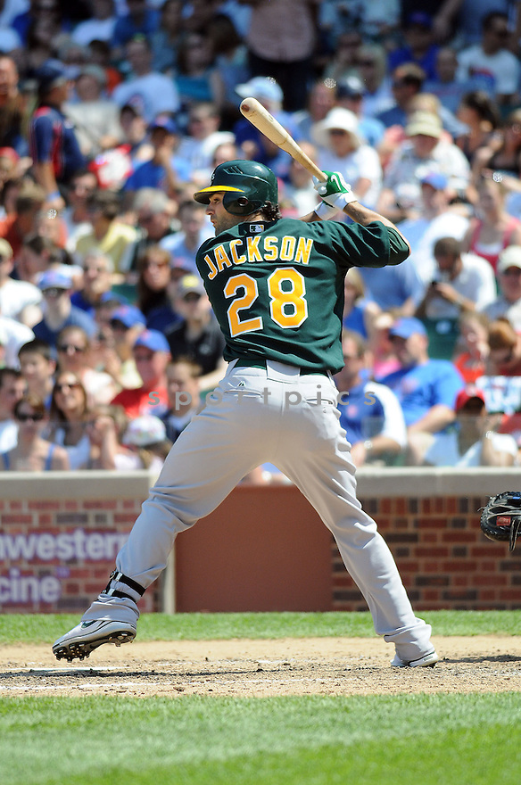 CONOR JACKSON,  of the Oakland A's,  in action  during the A's  game against the Chicago Cubs in Chicago, Illinois on June 17, 2010. The  Chicago Cubs  beat the A's 3-2..