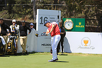 Bryson DeChambeau (USA) on the 16th tee during the First Round - Four Ball of the Presidents Cup 2019, Royal Melbourne Golf Club, Melbourne, Victoria, Australia. 12/12/2019.<br /> Picture Thos Caffrey / Golffile.ie<br /> <br /> All photo usage must carry mandatory copyright credit (© Golffile | Thos Caffrey)