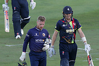 Adam Wheater of Essex and Sam Billings of Kent leave the field as the low sun causes play to be suspended during Kent Spitfires vs Essex Eagles, Vitality Blast T20 Cricket at the St Lawrence Ground on 2nd August 2018