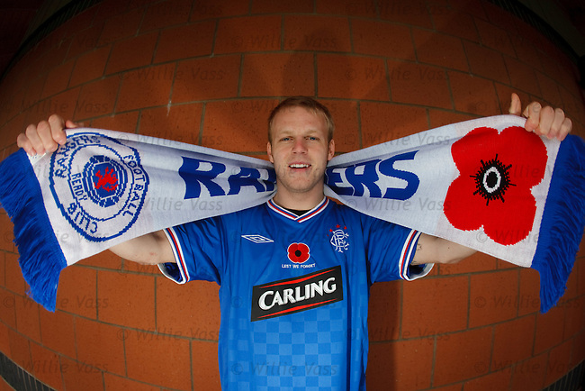 Steven Naismith displays the poppy strip to be worn by Rangers
