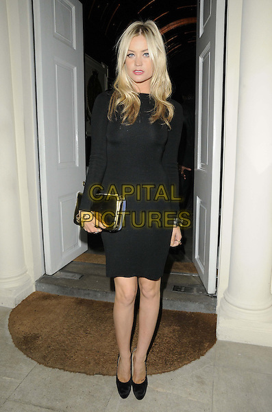 Laura Whitmore.The London Collections: Men GQ Dinner, Sketch bar & restaurant, Conduit St., London, England..January 9th, 2013.full length black dress gold clutch bag.CAP/CAN.©Can Nguyen/Capital Pictures.