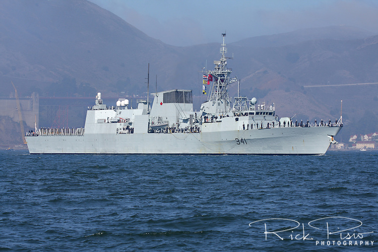 Canadian Patrol Frigate HMCS Ottowa (FFH 341) on San Francisco Bay. The Ottowa is based in Esquimalt, British Columbia, and is the 12th of her kind to be delivered to the Canadian Navy.HMCS Ottowa is a Halifax class frigate and was completed in 1996.