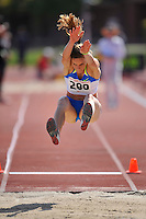 04 May 2008: Nike Track Team's Grace Upshaw during the Payton Jordan Cardinal Invitational at the Cobb Track and Angell Field in Stanford, CA.  Upshaw won the women's long jump event, leaping 6.68 meters.