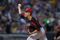 Rochester Red Wings starting pitcher Jose Berrios (16) delivers a pitch to the plate against the Charlotte Knights at BB&T BallPark on August 8, 2015 in Charlotte, North Carolina.  The Red Wings defeated the Knights 3-0.  (Brian Westerholt/Four Seam Images)
