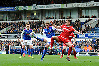 Ipswich Town's Teddy Bishop battles with Nottingham Forest's Jo&atilde;o Carvalho<br /> <br /> Photographer Hannah Fountain/CameraSport<br /> <br /> The EFL Sky Bet Championship - Ipswich Town v Nottingham Forest - Saturday 16th March 2019 - Portman Road - Ipswich<br /> <br /> World Copyright &copy; 2019 CameraSport. All rights reserved. 43 Linden Ave. Countesthorpe. Leicester. England. LE8 5PG - Tel: +44 (0) 116 277 4147 - admin@camerasport.com - www.camerasport.com