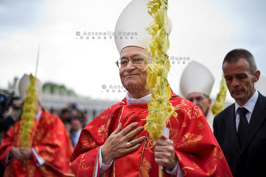 Città del Vaticano, 13 Aprile, 2014. Il Cardinale Salvatore de Giorgi durante la celebrazione della messa in Vaticano in occasione della Domenica delle palme. Cardinal Salvatore de Giorgi  attends Palm Sunday Mass celebrated by Pope Francis at St. Peter's Square.
