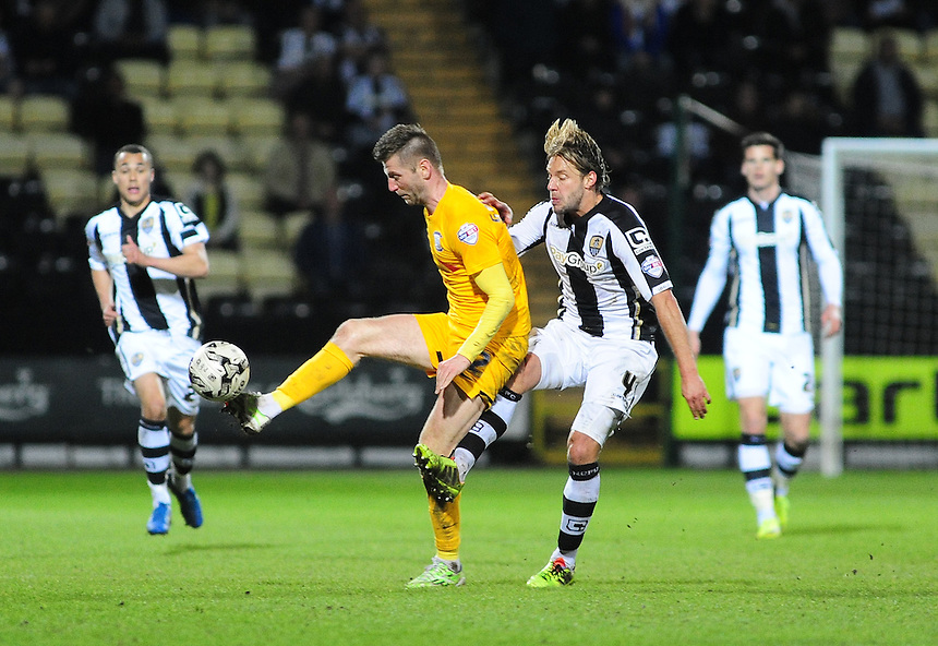 Preston North End's Paul Gallagher is fouled by Notts County's Alan Smith<br /> <br /> Photographer Andrew Vaughan/CameraSport<br /> <br /> Football - The Football League Sky Bet League One - Notts County v Preston North End - Tuesday 21st April 2015 - Meadow Lane - Nottingham<br /> <br /> &copy; CameraSport - 43 Linden Ave. Countesthorpe. Leicester. England. LE8 5PG - Tel: +44 (0) 116 277 4147 - admin@camerasport.com - www.camerasport.com