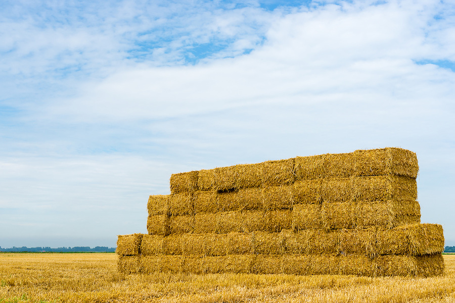 A stack of hay bales in a rural landscape