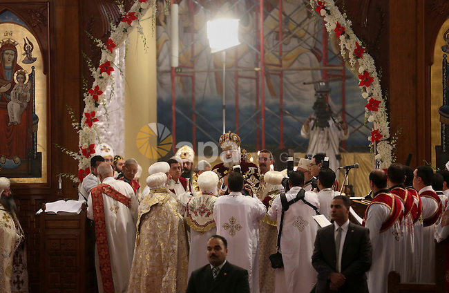 Pope Tawadros II, the 118th Pope of the Coptic Orthodox Church of Alexandria and Patriarch of the See of St. Mark Cathedral, leads Egypt's Coptic Christmas eve mass in Cairo, Egypt, January 6, 2016. Photo by Stringer