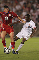 Czech Republic forward Martin Fenin (15) and USA midfielder Maurice Edu (19) battle for the ball. In the Send Off Series, the Czech Republic defeated the US men's national team, 4-2, at Rentschler Field in East Hartford, Connecticut, on May 25, 2010.
