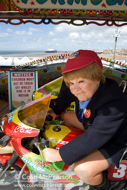 Wee Jimmy Krankie pictured on a fairground ride on the Central Pier in Blackpool. The veteran comedienne and entertainer was promoting her forthcoming show entitled the Best of British Variety Tour 2008, which also featured Frank Carson, Cannon & Ball, Paul Daniels, Brotherhood of Man and Jimmy Cricket. The Krankies comprised husband and wife Janette and Ian Tough and portrayed schoolboy Wee Jimmy Krankie (Janette), and Jimmy's father (Ian), though in their comedy act they also portray other characters.