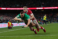 8th February 2020; Aviva Stadium, Dublin, Leinster, Ireland; International Six Nations Rugby, Ireland versus Wales; Andrew Conway (Ireland) dives in to score a try despite the tackle