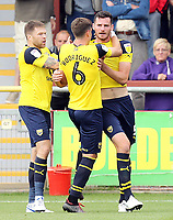 Oxford United's Elliott Moore (right) celebrates with team-mates after scoring his sides equalising goal to make the score 1-1<br /> <br /> Photographer Rich Linley/CameraSport<br /> <br /> The EFL Sky Bet League One - Fleetwood Town v Oxford United - Saturday 7th September 2019 - Highbury Stadium - Fleetwood<br /> <br /> World Copyright © 2019 CameraSport. All rights reserved. 43 Linden Ave. Countesthorpe. Leicester. England. LE8 5PG - Tel: +44 (0) 116 277 4147 - admin@camerasport.com - www.camerasport.com