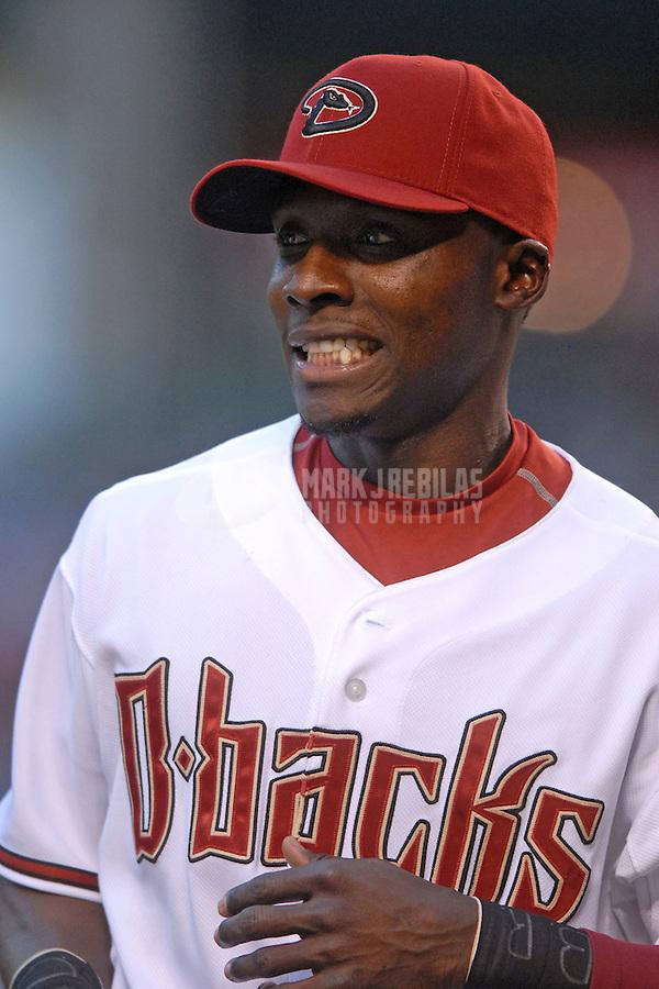 Apr 9, 2007; Phoenix, AZ, USA; Arizona Diamondbacks second baseman (1) Orlando Hudson against the Cincinnati Reds during the home opener at Chase Field in Phoenix, AZ. Mandatory Credit: Mark J. Rebilas