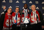 14 January 2010: Tony Tchani was selected with the #2 overall pick by New York Red Bulls. From left: Richie Williams, Erik Soler, Tony Tchani, Hans Backe. The 2010 MLS SuperDraft was held in the Ballroom at Pennsylvania Convention Center in Philadelphia, PA during the NSCAA Annual Convention.