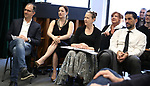 John Rando, Laura Michelle Kelly, Harriet Harris, Kathy Fitzgerald, Will Swensen during the Rehearsal of the  Barrington Stage Company production of 'The Royal Family of Broadway', the new musical by William Finn and Rachel Sheinken, at Ripley Grier Studios on May 11, 2018 in New York City.