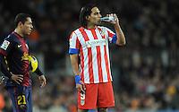 Adriano ( FC Barcelone ) - Falcao ( Atletico ) .Football Calcio 2012/2013.La Liga Spagna.Foto Panoramic / Insidefoto .ITALY ONLY