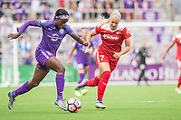 Orlando, FL - Saturday April 22, 2017: Chioma Ubogagu, Line Sigvardsen-Jensen during a regular season National Women's Soccer League (NWSL) match between the Orlando Pride and the Washington Spirit at Orlando City Stadium.