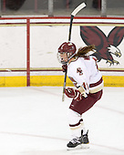 Caitlin Walsh (BC - 11) celebrates her goal. - The Boston College Eagles defeated the Harvard University Crimson 3-1 to win the 2011 Beanpot championship on Tuesday, February 15, 2011, at Conte Forum in Chestnut Hill, Massachusetts.