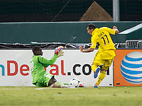 Bill Hamid (28) of D.C. United saves the shot of Dilly Duka (11) of the Columbus Crew during the game at RFK Stadium in Washington, DC.  D.C. United defeated the Columbus Crew, 1-0.