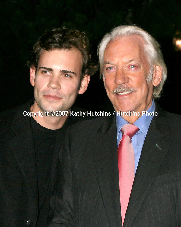 """Donald Sutherland & Son Rossif Sutherland.""""Dirty Sexy Money"""" Premiere Party.Paramount Studios Theater.Los Angeles,  CA.September 23, 2007.©2007 Kathy Hutchins / Hutchins Photo...               ."""
