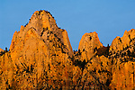 Sunrise light on the The Towers of Virgin, Zion Canyon, Zion National Park, Utah