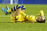 Bersant Celina of Swansea City lays injured on the ground during the Sky Bet Championship match between Sheffield Wednesday and Swansea City at Hillsborough Stadium, Sheffield, England, UK. Saturday 09 November 2019