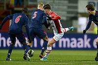 EMMEN - Voetbal, FC Emmen - Jong Ajax, Jens Vesting, Jupiler League, seizoen 2017-2018, 15-12-2017,  FC Emmen speler Glenn Bijl met Jong Ajax speler Mitchel Bakker