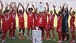 27.06.2020, Fussball: nph00001 1. Bundesliga 2019/2020, 34. Spieltag, VfL Wolfsburg - FC Bayern Muenchen, in der Volkswagen-Arena Wolfsburg. Siegerehrung nach dem Spiel: Der FC Bayern MŸnchen feiert den Gewinn der 30. Deutschen Meisterschaft. Trainer Hans-Dieter Flick (mi., Bayern MŸnchen) mit der Schale<br /><br />Foto: Bernd Feil/M.i.S./ /Pool/nordphoto<br /><br />Nur fŸr journalistische Zwecke! Only for editorial use! <br /><br />GemŠ§ den Vorgaben der DFL Deutsche Fussball: nph00001 Liga ist es untersagt, in dem Stadion und/oder vom Spiel angefertigte Fotoaufnahmen in Form von Sequenzbildern und/oder videoŠhnlichen Fotostrecken zu verwerten bzw. verwerten zu lassen. DFL regulations prohibit any use of photographs as image sequences and/or quasi-video.    <br /><br />National and international NewsAgencies OUT.