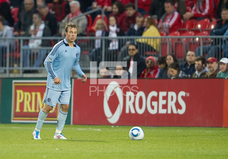 Sporting KC defender/midfielder Michael Harrington #2 in action during an MLS game between Sporting Kansas City and the Toronto FC at BMO Field in Toronto on June 4, 2011..The game ended in a 0-0 draw...