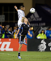Steven Lenhart of Earthquakes battles for the ball in the air against Sean Franklin of Galaxy during the game at Buck Shaw Stadium in Santa Clara, California on November 7th, 2012.   LA Galaxy defeated San Jose Earthquakes, 3-1.