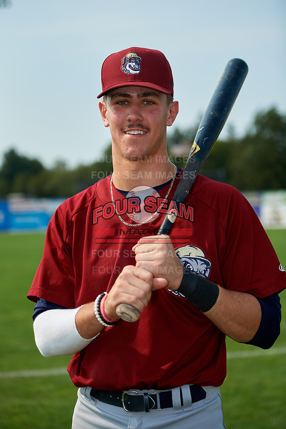 Mahoning Valley Scrappers third baseman Nolan Jones (10) poses for a photo after the first game of a doubleheader against the Batavia Muckdogs on September 4, 2017 at Dwyer Stadium in Batavia, New York.  Mahoning Valley defeated Batavia 4-3.  (Mike Janes/Four Seam Images)