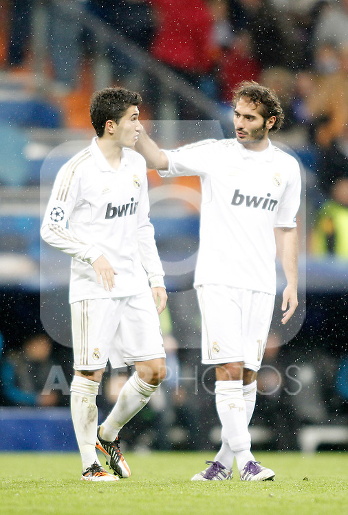 Real Madrid's Nuri Sahin and Hamit Altintop during UEFA Champions League match. November 22, 2011. (ALTERPHOTOS/Alvaro Hernandez)